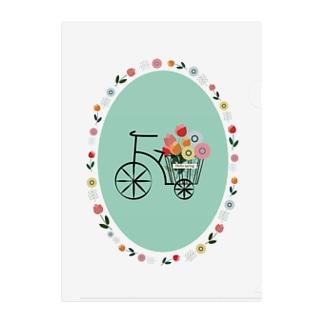 自転車とお花 Clear File Folder