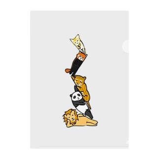 無気力な猫っぽい動物タワー Clear File Folder