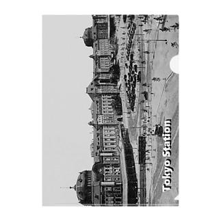 ヴィンテージ写真 戦前の東京駅 (モノクロフォト) Clear File Folder
