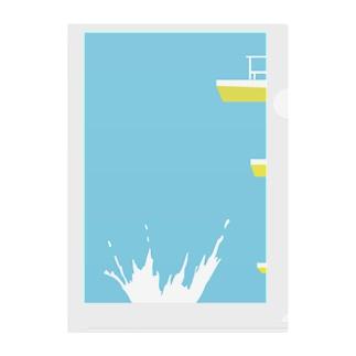夏 プール Clear File Folder