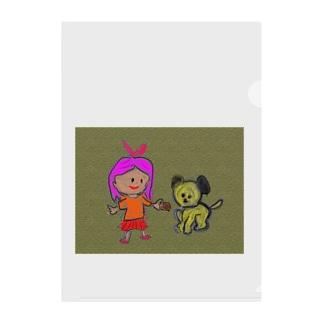 女の子と犬 Clear File Folder