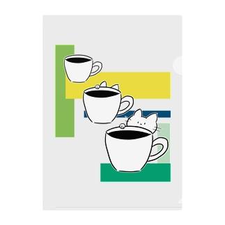 コーヒーカップといたずら子ねこ Clear File Folder