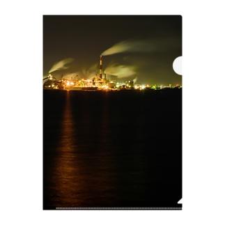 工場夜景3 Clear File Folder