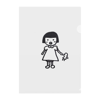 レトロな子供 Clear File Folder