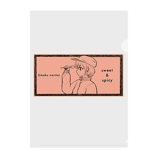-ウマクナリタイ-キャスケット女子 オレンジ Clear File Folder