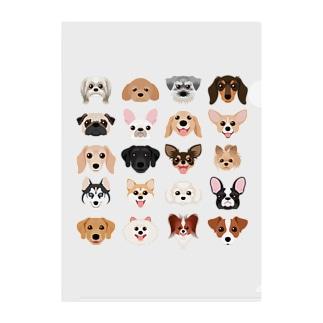 いろいろな犬種のかわいい顔 Clear File Folder