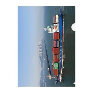 大韓民国:釜山港へ入港するコンテナ貨物船 Korea: Container ship for Busan / 부산항 Clear File Folder