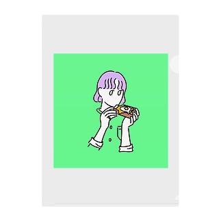 パン食べる女の子 Clear File Folder