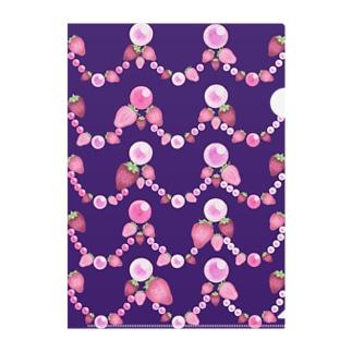 いちごと水晶玉のふんわり紫魔法 Clear File Folder