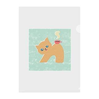 猫とコーヒー Clear File Folder