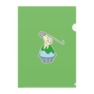 練乳ねこかき氷(メロン/抹茶) Clear File Folder