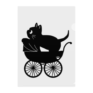 ベビーカーに乗った黒猫 Clear File Folder