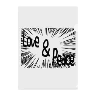Love&peace ー片面プリント Clear File Folder
