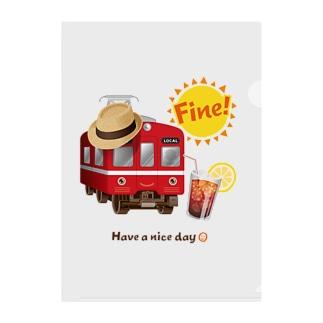 赤い電車 「 Fine ! 」 Clear File Folder