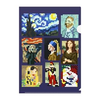 ドット美術館  背景 紺色 Clear File Folder