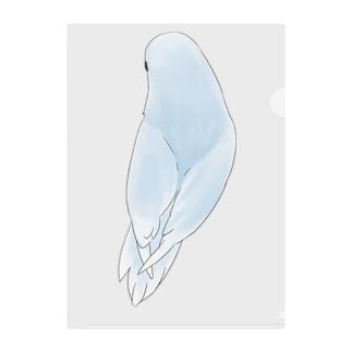 見返り美人マメルリハちゃん【まめるりはことり】 Clear File Folder
