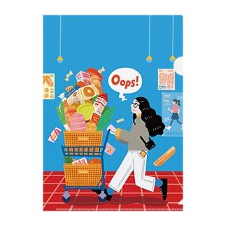 Autumn Shopping_背景あり Clear File Folder