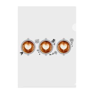 【Lady's sweet coffee】ラテアート メッセージハート / With accessories ~2杯目~ Clear File Folder