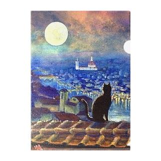 月夜猫フィレンツェ1 Clear File Folder