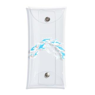 グラスを泳ぐペンギン(水色シンプル) Clear Multipurpose Case