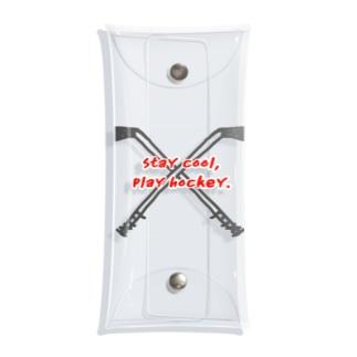 アイスホッケースティック クロス(ブラック&レッド) Clear Multipurpose Case