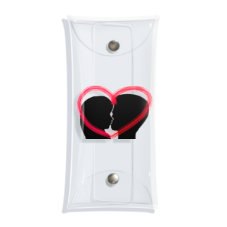 Lily bird(о´∀`о)のSilhouette of kiss with heart♥② Clear Multipurpose Case