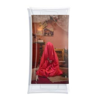 Satin bag Hinako Clear Multipurpose Case