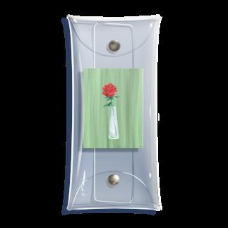 チームナチョスの三角瓶と薔薇 Clear Multipurpose Case