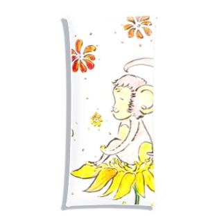 幸せのお花とさる Clear Multipurpose Case