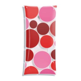 ぎっしりな赤色とピンク色の水玉模様 Clear Multipurpose Case