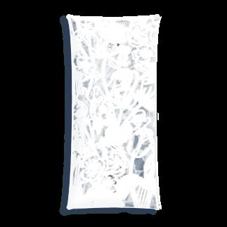 momokoharadaの白い線画の花柄_M Clear Multipurpose Case