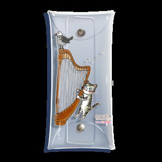 ミナミハチゴーのヨゲンノトリとハープねこ Clear Multipurpose Case