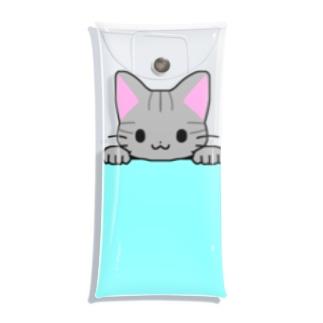 ゆめかわ屋 いそぎんちゃくのひょっこりサバトラ猫 水色 Clear Multipurpose Case
