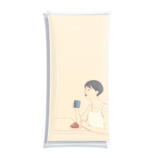 コーヒーを飲む女性 Clear Multipurpose Case