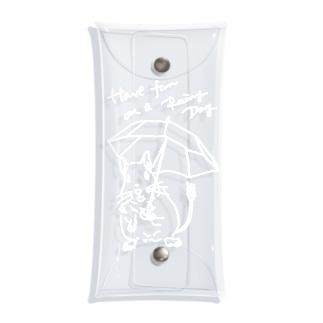 kanako-mikanのHave fun on a Rainy day(white) Clear Multipurpose Case