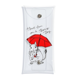 Have fun on a Rainy day (Red Umbrella) Clear Multipurpose Case