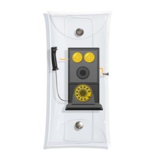 レトロな片耳受話器の片耳受話器の壁掛け電話(デルビル磁石式電話機)のイラスト  黒 受話器外しver Clear Multipurpose Case