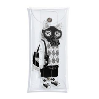 ガスマスクを付けた猫 Clear Multipurpose Case