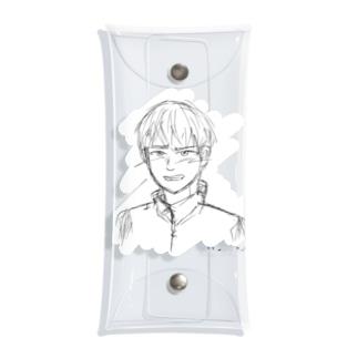 satomimitsukiの照れる少年 スクラッチ風白入り Clear Multipurpose Case