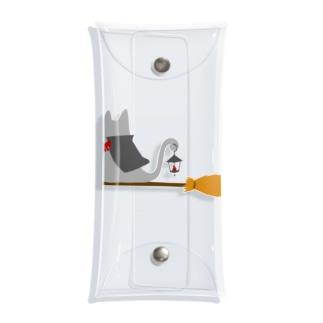 マント猫(箒ランプ) Clear Multipurpose Case
