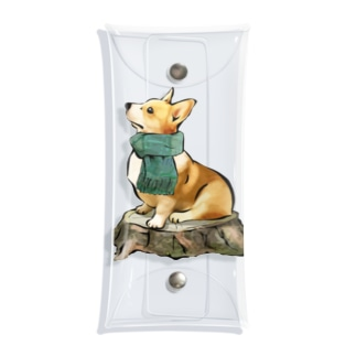 マフラー犬 コーギー Clear Multipurpose Case
