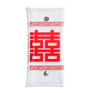 双喜紋(喜喜)幸福のシンボル【赤】 Clear Multipurpose Case