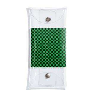 日本:市松模様緑 Clear Multipurpose Case