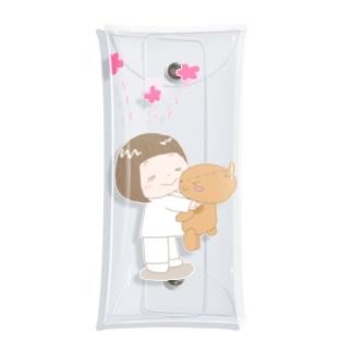 羊毛フェルトのMOFFU.(もっふ)のずっと一緒!トコちゃんとクマさん Clear Multipurpose Case