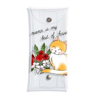 花束とニコニコ猫ちゃん Clear Multipurpose Case