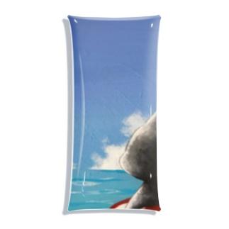 黒猫、海に行く。 Clear Multipurpose Case