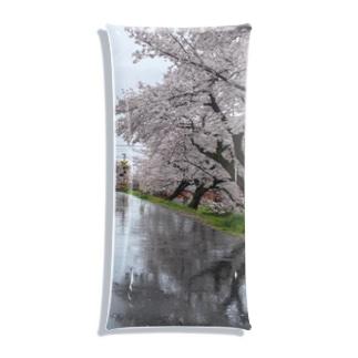 桜と踏切のウユニ塩湖風 Clear Multipurpose Case