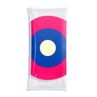 サークルa・ショッキングピンク・紺3・クリーム Clear Multipurpose Case