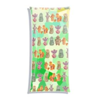 埴輪と土偶と銅鐸たくさん(緑) Clear Multipurpose Case