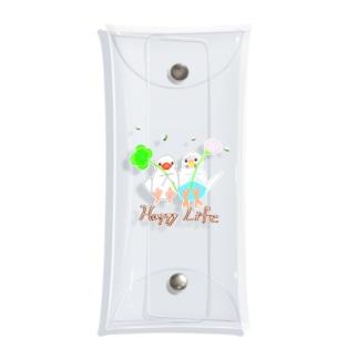 幸せ小鳥&シロツメクサ Clear Multipurpose Case
